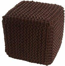 Homescapes Sitzhocker Sitzwürfel schokobraun 35 x 35 x 35 cm, Sitzkissen Strick Pouf Fußhocker, grob gestrickter Bezug aus 100% Baumwolle, Füllung aus 100% Polystyrol