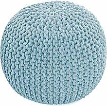 Homescapes Sitzhocker Strickpouf rund hellblau Sitzkissen Strick Pouf Bodenkissen, grob gestrickter Bezug aus 100% Baumwolle, Füllung aus 100% Polystyrol