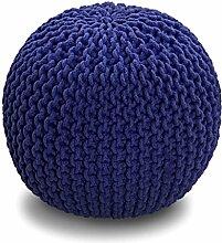 Homescapes Sitzhocker Strickpouf rund marineblau Sitzkissen Strick Pouf Bodenkissen, grob gestrickter Bezug aus 100% Baumwolle, Füllung aus 100% Polystyrol