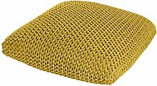 Homescapes Strickpouf groß gelb 70 x 20 cm