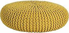 Homescapes Strickpouf groß gelb rund 70 x 23 cm