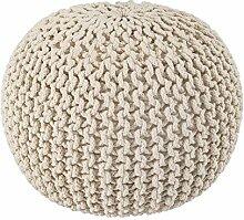 Homescapes Strickpouf Sitzhocker rund creme 40 x 35 cm, Sitzkissen Strick Pouf Bodenkissen, grob gestrickter Bezug aus 100% Baumwolle, Füllung aus 100% Polystyrol