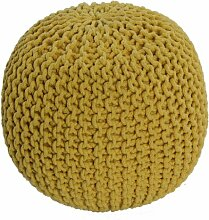 Homescapes Strickpouf Sitzhocker rund gelb 40 x 35 cm, Sitzkissen Strick Pouf Bodenkissen, grob gestrickter Bezug aus 100% Baumwolle, Füllung aus 100% Polystyrol