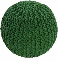 Homescapes Strickpouf Sitzhocker rund grün 40 x 35 cm, Sitzkissen Strick Pouf Bodenkissen, grob gestrickter Bezug aus 100% Baumwolle, Füllung aus 100% Polystyrol