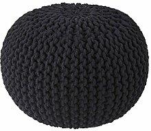 Homescapes Strickpouf Sitzhocker rund schwarz 40 x 35 cm, Sitzkissen Strick Pouf Bodenkissen, grob gestrickter Bezug 100% Baumwolle, Füllung 100% Polystyrol