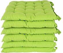Homescapes Stuhlkissen 40x40 cm 6er Set grün Stuhlauflage mit Bändern und Knopfverschluss Bezug 100% Baumwolle mit Polyester Füllung