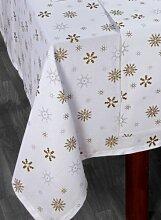 Homescapes Tischdecke Weihnachten weiß mit Schneeflocken Motiv 140 x 230 cm, 100% reine Baumwolle