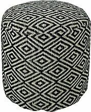 Homescapes Trendiger Design Pouf Rund Aztec Ethno