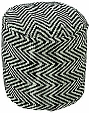 Homescapes Trendiger Design Pouf Rund Chevron