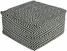 Homescapes Trendiger Design Sitzwürfel Fußhocker Chevron Herringbone schwarz creme 60 x 60 x 30 cm