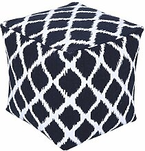 Homescapes Trendiger Design Sitzwürfel Fußhocker Ikat blau weiß 40 x 40 x 40 cm
