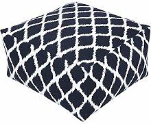 Homescapes Trendiger Design Sitzwürfel Fußhocker Ikat blau weiß 60 x 60 x 30 cm