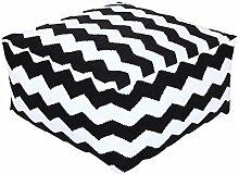 Homescapes Trendiger Design Sitzwürfel Fußhocker schwarz weiß Chevron Herringbone 60 x 60 x 30 cm