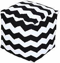 Homescapes Trendiger Design Sitzwürfel Fußhocker schwarz weiß Chevron Herringbone 40 x 40 x 40 cm