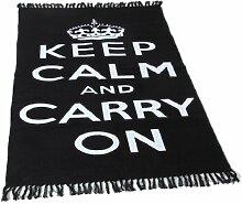 Homescapes Trendiger Keep Calm and Carry on Teppich Läufer 60 x 100 cm Vorleger schwarz weiß