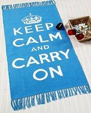 Homescapes Trendiger Keep Calm and Carry on Teppich Läufer 60 x 100 cm Vorleger blau weiß handgearbeite