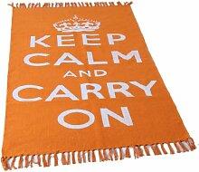 Homescapes Trendiger Keep Calm and Carry on Teppich Läufer 60 x 100 cm Vorleger orange weiß