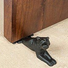 Homescapes Türstopper Metall liegender Hund Türpuffer mit Pulverbeschichtung in Schwarz 699g
