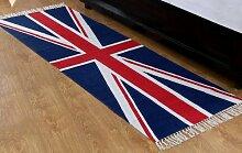 Homescapes Union Jack Läufer, Teppich 66 x 200 cm, 100 % Baumwolle, Druck Britische Flagge, handgearbeitet.