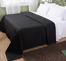 Homescapes waschbare Wende Tagesdecke Bettüberwurf Plaid mit Karo-Steppung, 200 x 200 cm aus 100% reiner Baumwolle mit Polyester Füllung in schwarz und grau