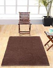 Homescapes waschbarer Chenille Teppich Vorleger 60 x 100 cm aus 100% reiner Baumwolle, Farbe: schokolade, pflegeleicht und strapazierfähig.