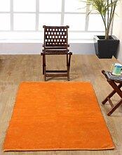 Homescapes waschbarer Chenille Teppich Vorleger 90 x 150 cm aus 100% reiner Baumwolle, Farbe: orange, pflegeleicht und strapazierfähig.