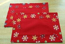 Homescapes Weihnachtliche Platzsets rot 2er Set 30