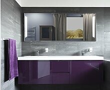Homespiegel, Badspiegel, Wandspiegel mit LED Beleuchtung (irsensor unten links,Digital UHR unten mittig, Schminkspiegel recht) Warmweiss - Olgun HL2L10, B/H: 110x70 cm
