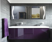 Homespiegel, Badspiegel, Wandspiegel mit LED Beleuchtung (irsensor unten links,Digital UHR unten mittig, Schminkspiegel recht) Warmweiss - Naime HL2L12, B/H: 130x80 cm