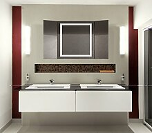 Homespiegel Klappspiegel - Kipschalter unten mittig- LED beleuchtet - KLP003 - , B/H: 50x50 cm