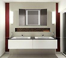 Homespiegel Klappspiegel - Kipschalter unten mittig- LED beleuchtet - KLP006 - , B/H: 50x60 cm