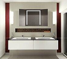 Homespiegel Klappspiegel - Kipschalter unten mittig- LED beleuchtet - KLP002 - , B/H: 60x60 cm