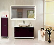 Homespiegel mit LED Beleuchtung - Kipschalter unten mittig - Elliy HRL64P - , B/H: 130x70 cm