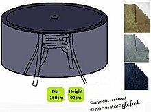 HomeStore Global groß Schutzhülle für Bistroset / Runde Gartentisch Ø 150 x 92 cm(H) - Dicke & Hochwertiges strapazierfähiges 600D Polyester Canvas mit Doppel genähte Nähte für extra Stärke, All-Wetter-beständig und anti-Feuchtigkeit - Holzkohle