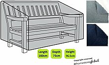 HomeStore Global groß Schutzhülle für Gartenbank (mit Rechten Armlehnen) – Dicke & Hochwertiges strapazierfähiges 600D Polyester Canvas mit Doppel genähte Nähte für extra Stärke, All-Wetter-beständig und anti-Feuchtigkeit, Maße ca.: (L) 160 x (D) 75 x (H) 63.5/96.5cm - Grau