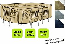 HomeStore Global groß Schutzhülle für Gartenmöbel – Maße ca.: (L) 220 x (D) 200 x (H) 92cm - Dicke & Hochwertiges strapazierfähiges 600D Polyester Canvas mit Doppel genähte Nähte für extra Stärke, All-Wetter-beständig und anti-Feuchtigkeit - Braun