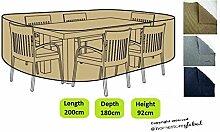 HomeStore Global medium Schutzhülle für Gartenmöbel - Maße ca.: (L) 200 x (D) 180 x (H) 92cm, Dicke & Hochwertiges strapazierfähiges 600D Polyester Canvas mit Doppel genähte Nähte für extra Stärke, All-Wetter-beständig und anti-Feuchtigkeit - Braun