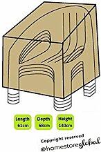 HomeStore Global, Schutzhülle für 4 Stapelstühle/Gartenstühle – Dicke & Hochwertiges strapazierfähiges 600D Polyester Canvas mit Doppel genähte Nähte für extra Stärke, All-Wetter-beständig und anti-Feuchtigkeit, Maße ca: (L) 61 x (D) 68 x (H) 106/140cm - Braun