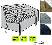 HomeStore Global Schutzhülle für Gartenbank (mit Runde Armlehnen) – Dicke & Hochwertiges strapazierfähiges 600D Polyester Canvas mit Doppel genähte Nähte für extra Stärke, All-Wetter-beständig und anti-Feuchtigkeit, Maße ca.: (L) 125 x (D) 68.5 x (H) 63.5/94cm - Grau