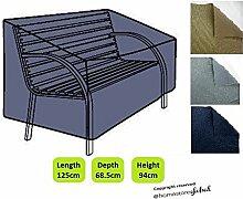 HomeStore Global Schutzhülle für Gartenbank (mit Runde Armlehnen) - Dicke & Hochwertiges strapazierfähiges 600D Polyester Canvas mit Doppel genähte Nähte für extra Stärke, All-Wetter-beständig und anti-Feuchtigkeit, Maße ca.: (L) 125 x (D) 68.5 x (H) 63.5/94cm - Holzkohle