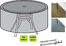 HomeStore Global, Schutzhülle für runde Gartenmöbel - Dicke & Hochwertiges strapazierfähiges 600D Polyester Canvas mit Doppel genähte Nähte für extra Stärke, All-wetterfest und gegen Feuchtigkeit, Größe ca.: Ø 100 x 80cm(H), grau