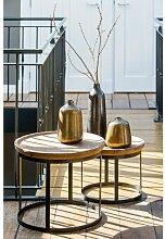 homestyle24 Couchtisch MACHALA 2er Set Holz Platte