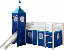 Homestyle4u 065, Kinder Hochbett Mit Rutsche, Leiter, Turm, Vorhang Blau, Massivholz Kiefer Weiß, 90x200 cm