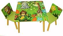Homestyle4u 1Tisch und 2Stühle Hocker-Set mit Dschungel, Holz, mehrfarbig, 30x 30x 30cm