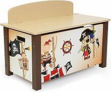 Homestyle4u 1115 Kinder Spielzeugtruhe Pirat ,