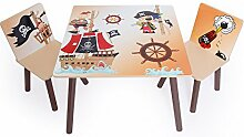 Homestyle4u 1117 Kindersitzgruppe Pirat 3-teiliges Set 1 Kindertisch + 2 Kinderstühle aus Holz in Braun Beige 3 tlg. Sitzgruppe Kinderzimmer 1 Tisch + 2 Stühle - Kindermöbel für Jungen & Mädchen