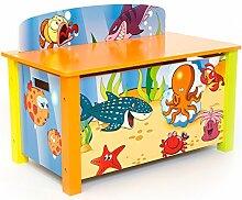 Homestyle4u 1119 Spielzeugtruhe Unterwasserwelt B x H x T: 66 cm x 50 cm x 39 cm aus Holz in Blau & bunten Meeresmotiven Spielzeugkiste Kinderzimmer Aufbewahrungsbox - Kindermöbel Jungen & Mädchen