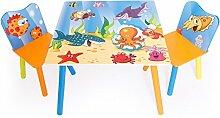 Homestyle4u 1120 Kindersitzgruppe Meer Fische, Kindermöbel Set aus 1 Kindertisch und 2 Stühle, Holz Blau Bun