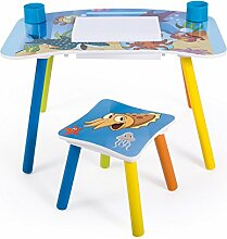 Homestyle4u 1122 Kindersitzgruppe Meer Fische, Kindermöbel Set aus 1 Kindertisch und 1 Hocker Papierrolle, Holz Blau 43 x 43 x 73