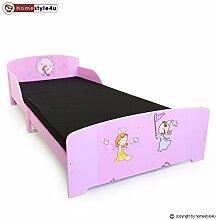 Homestyle4u 1213, Kinderbett Motiv Prinzessin Fee, Holz Rosa, 90x200 cm